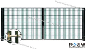 Fence Gate, Iron Gate, Garden Gate, Rectangular Post Gate, Double Wings Gate pictures & photos