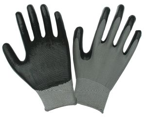 Black Nitrile Coated Safety Working Gloves D001 pictures & photos