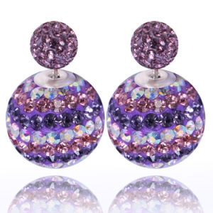 Fashion Jewelry Double Sided Crystal Disco Ball Ear Studs Earrings