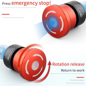 Wire Output Emergency Stop Switch Push Lock //Retate Release 22mm Plastic Pin