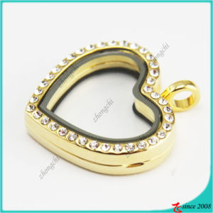 Gold Crystal Heart Magnet Glass Lockets Jewelry