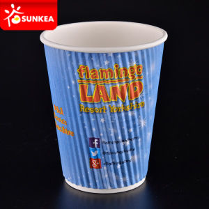 Disposable Corrugated Custom Logo Design Printed Ripple Wall Hot Paper Coffee Cup
