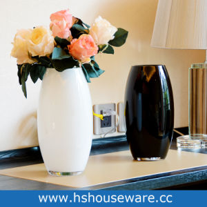 China Wholsale Home Decor Mouth Blown Black White Flower Glass Vase China Decoration Vase And Decorative Items Price