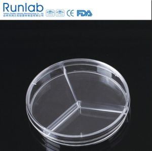 90*15mm Disposable Plastic Culture Petri Dish with Three Compartments pictures & photos