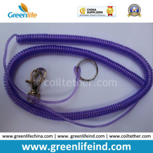 Transparent Purple Expanding Spiral Coil Fishing Tool Holder Lanyard