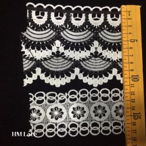 Hm Lace Factory Outlet Embroidered Africa Cotton Lace Trim Offwhite pictures & photos
