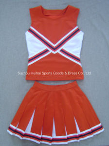 2017 Cheerleading Double Knit Uniform Tops and Skirts pictures & photos