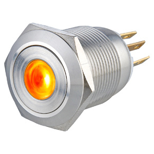 19mm Orange DOT Illuminated Momentary 1no1nc Vandal Resistant Stainless Steel Push Button Switch pictures & photos