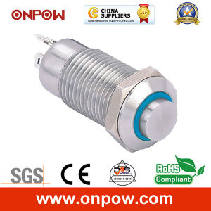 Onpow 12mm High Head Push Button Switch (GQ12-CH-10ZE/J/R/12V/S, CE, RoHS) pictures & photos