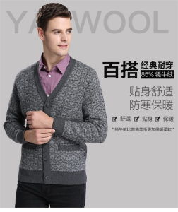 Yak Wool/Cashmere V Neck Cardigan Long Sleeve Sweater/Knitwear/Garment/Clothes pictures & photos