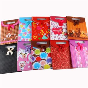 Customized Paper Shopping Bag with Ribbon Handle pictures & photos