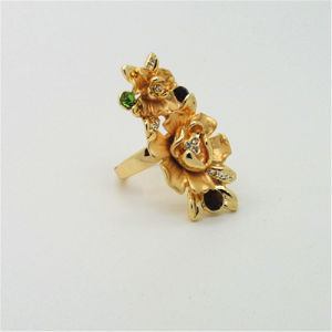 Big Size Flower Ring Gold Plated Exaggerated Party Banquet Finger Dress Lady Jewelry (R130020)