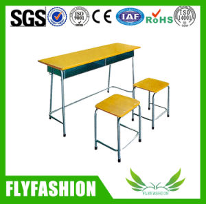 Attached Wood Double Student Desk and Chair (SF-65A 2) pictures & photos