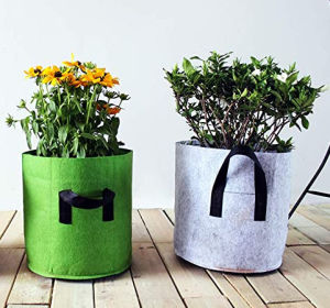 Planting Grow Bags, 4PCS Round Thick Felt Growing Bags with Handles for Vegetable Plant Bags Tomato