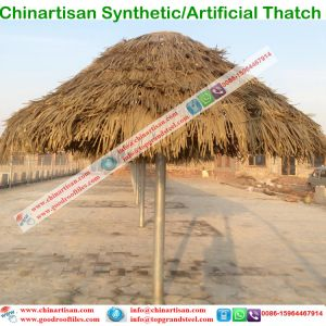 Pe Pvc Artifical Palm Synthetic Thatch Roof Beach Umbrella For Resort Cottage Water Bungalow