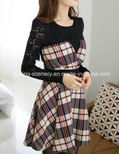 China Lace Plaid Dress Korea Style Lady Dress Women Clothes D 144
