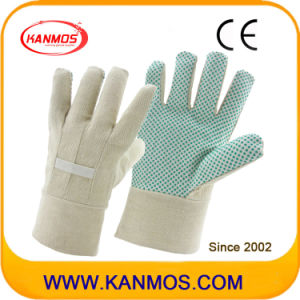 Double Palmed White Drill Fabric Back PVC Dots Garden Industrial Safety Work Cotton Gloves (41008)