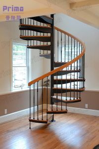 Indoor Wrought Iron Balustrade Wooden Spiral Staircase pictures & photos