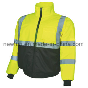 Polyester 300d Waterproof Breath Fabric Workwear Reflective Clothes Safety Jacket pictures & photos
