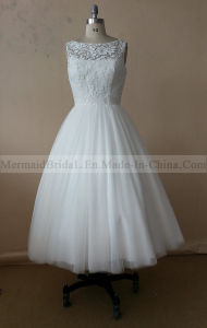 Tea Length Ivory Applique Lace Wedding Dress