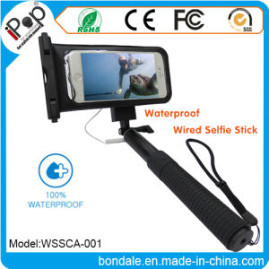 Audio Cable Waterproof Wired Selfie Stick and Waterproof Pouch for Smartphone