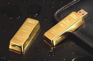 Gold Bar USB Flash Drive--Push and Pull Style