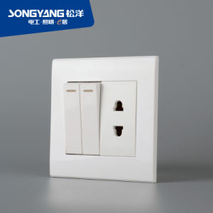 PC Series 2gang&1socket Wall Switch
