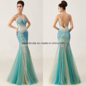Rhinestones Ladies Dress Mermaid Spaghetti Evening Formal Gowns Z610 pictures & photos