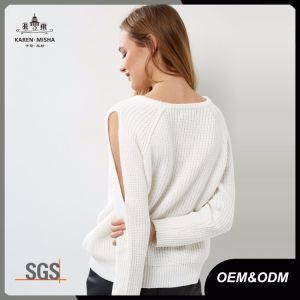 Ladies Crew Neck Cut out Sleeve White Knit Sweater pictures & photos