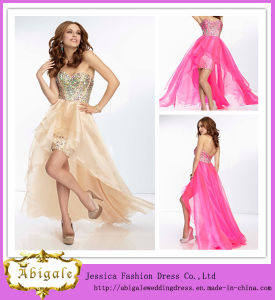 Best Selling Chiffon Sweetheart with Sequins Short Front Long Back and Backless Evening Dress Fashion 2013 (LH0044)