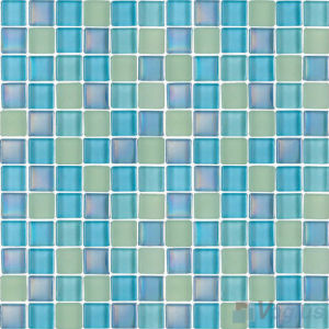 Turquoise 1X1 Blend Crystal Glass Pool Tiles