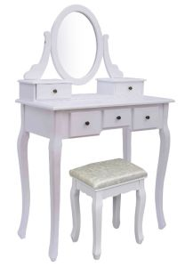 Wooden White Dressing Tables With 5 Drawers