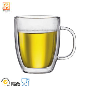 Hand-Blown Double-Wall High Borosilicate Glass Mug pictures & photos