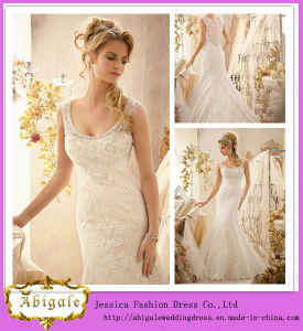 New Deign Ivory Scoop Mermaid Sleeveless Button Back Floor Length Lace Wedding Dress (MQ1003)