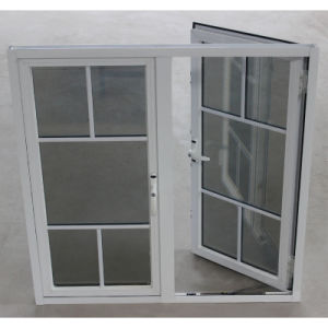 Double Glass with Grid, Powder Coated Aluminium Casement Window K03002