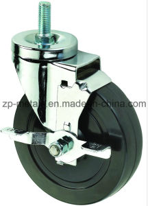4inch Biaxial Black Rubber Thread Caster Wheels with Brake