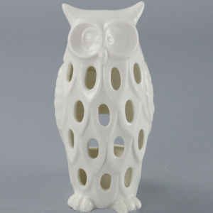 High Quality White Ceramic Owl Candle Holder pictures & photos