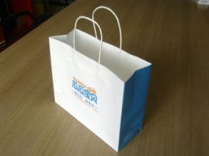 printing White Kraft Paper Shopping Bag with Paper Handle