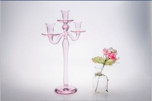 Pink Three Poster Glass Candle Holder for Wedding Decoration pictures & photos