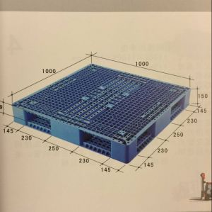 Integrated and Two-Sided Grid 1000lx1000wx150h mm Plastic Pallets