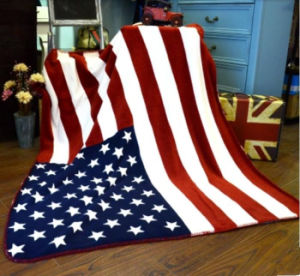 100% Polyester Coral Fleecethe United States Flag Blanket pictures & photos