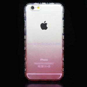 Fashion Gradient Color Phone Case with Diamond Protective Frame for iPhone 6/6plus
