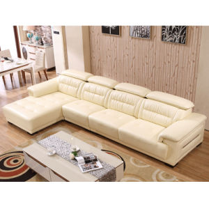 Cream Color Modern L Shape Sectional Genuine Leather Couch Chaise (8019)
