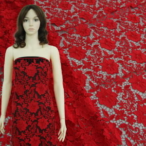 Red 3D Floral Chemical Lace for Dress