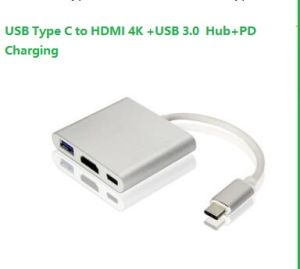 USB 3 1 Type-C to HDMI Adapter 4k+USB 3 0 Hub +USB-C Full Speed Charging  Port (PD Power Delivery Qucik charging) Adapter Cable for New MacBook/