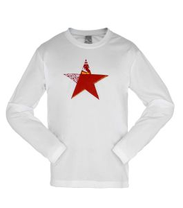 Men′s White Long Sleeve Star T-Shirt pictures & photos