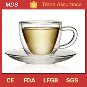 High Borosilicate Insulated Double Wall Glass Coffee Cup with Saucer pictures & photos