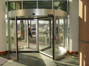 Automatic Revolving Door, Three Wings, Lenze Motor, Siemens Invertor, Aluminum Frame Powder Coating, Laminated Glass Door pictures & photos