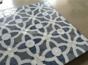 Blue Flower Design Waterjet Marble Tile Wall Decoration pictures & photos
