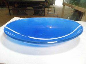 20inch Glass Blue Fruit Plate